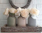 Large Hand Painted Mason Jars Centre Piece In a Bark Wooden Tray. Eight Colours of Jar Available.