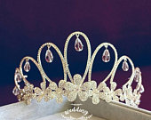 Silver Bridal Tiara with Crystals Accessories For BridesHair Jewellery BridalWedding TiaraTiaras Crownsprom TiaraSilver Crown Bridal