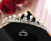 Silver Bridal Tiara with Pearls Accessories For BridesHair Jewellery BridalWedding TiaraTiaras Crownsprom TiaraSilver Pearl Tiara