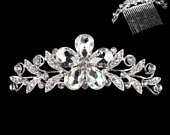 Silver plated metal Crystal Rhinestone Diamante tall tiara Crown Comb Headpiece Flowers Leaves Wedding Bridal Communion Prom Prom
