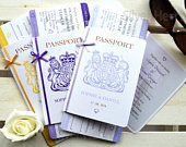 Bow Passport Wedding Invitation with Boarding Pass RSVP handmade for weddings abroad and destination wedding SAMPLE