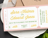 Concert or General Admission Ticket Wedding Invitation / Just the Ticket Fun Modern Wedding Invite / Pale Pink Green Yellow / ONE SAMPLE