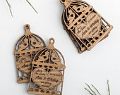 Lovebirds save the date Laser engraved birdcage Rustic wedding invite Wooden save the date Personalised wedding invitations Romantic wedding