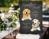 Wedding Chalkboard Signature Drink Sign with Pet, Signature Cocktail Sign with Pet, Wedding Bar Menu, Drinks Menu, Dog of Honor