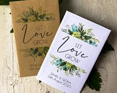 Set of 20 Personalised Let Love foliage greenery wedding favour seed packets