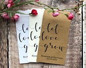 10 Let Love Grow Double Sided Wedding Favour Seed Packet Envelopes Personalised