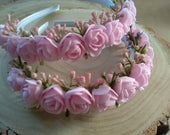 Baby pink roses headband,Wedding bridesmaid flowergirl hairband dance,Girls baby pink flower crown,headband light pink roses and blossom