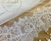 79 Wedding Veil with a French Lace Edge Single Layer, Soft Tulle Wedding Veil, 79 inches, 200 cm Ivory Veil, Floor Length, Lace Veil