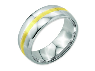 Chisel Stainless Steel And 14k Yellow Inlay 8mm Polished Weeding Band