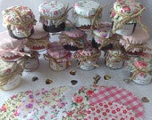 50 X Wedding favour Fabric mini jam jar lid top covers PINK MIX twine bands labels