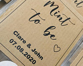 New design, best selling personalised wedding favours mint to be wedding mints rustic, brown kraft, kraft ribbed