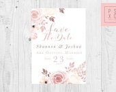 Save The Date Magnets / Blush Ivory Floral Design / Blush Flowers // Blush Floral Wedding // Save The Date Magnet // Wedding Stationery