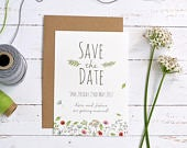 Personalised save the date card. Floral save the date, wedding announcement, wedding date card (A6 card, Min. order x30)