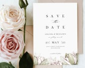 Water lily wedding save the date template, floral electronic save the date, watercolor greenery and pink template set, instant download, LEA