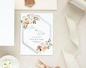 Autumn Floral Geometric save the date rustic fall wedding save the date, editable invite ,printable invite, instant download 128