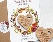 Save The Date Magnet with Cards, Autumn Fall Wedding Heart SaveTheDates, Rustic Wooden Announcement Magnet, Summer, Spring, Floral Wreath