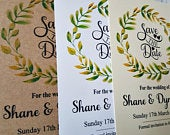 Rustic Watercolour Floral Print, Personalised Save The Date Cards, A6 or A7 x10