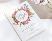 Boho save the date card, floral save the date, custom save the date, pink save the date, modern save the date, summer save the date
