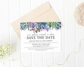 Floral Succulents Save the Date Template, INSTANT DOWNLOAD, Editable Save the Date, Printable Wedding Invite, Floral Wedding, Templett