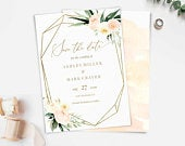 Save the Date, Invitation, Printable Template, picture photo, Ivory Blush Floral, Greenery Geometric Gold, Wedding Announcement