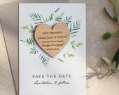 Save The Date Magnets Cards, Personalised Floral Rustic Wedding Invitation, Wooden Save the Dates, Spring Summer Wedding Invites