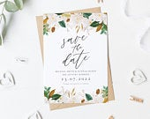 Magnolia Save The Date Card, Summer Save The Date, Flowers Wedding Invite, Watercolor Save Our Date Card, Pretty Save The Date