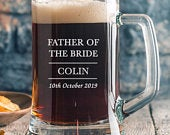 Personalised Father Of The Bride Stern Glass Tankards Gifts Ideas Presents For Wedding Favours Thank You Tokens