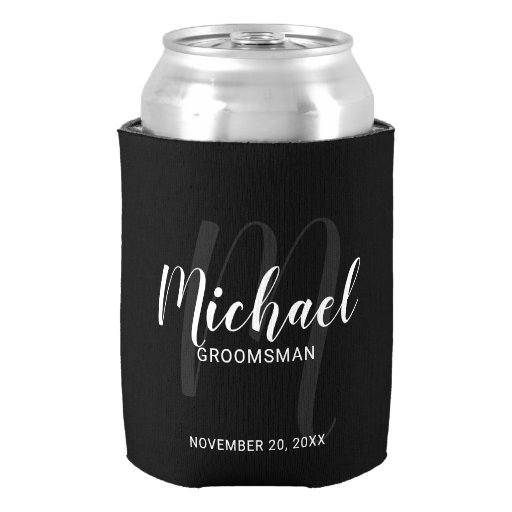 Black Modern Script Personalized Groomsmen Can Cooler