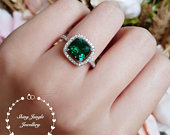 Cushion cut halo emerald ring, emerald engagement ring, cluster ring, white gold plated sterling silver, cushion ring, square ring