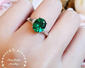 Emerald engagement ring, April birthstone, 3 carat lab emerald solitaire ring, oval cut lab emerald, green stone ring, emerald promise ring