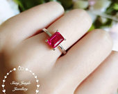 Emerald cut ruby ring, 2 ct lab ruby, pigeons blood, ruby engagement ring, white gold plated sterling silver, red gemstone ring