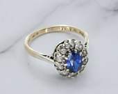 Blue Zircon Ring, Cubic Zirconia Ring, Blue Stone Ring, Stacking Ring, Statement Ring, Engagement Ring, Halo Ring, Cluster Engagement