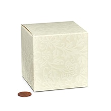 Embossed Favor Tuck Top Boxes Cardboard - Quantity: 20 - Favor Boxes Width: 3 1/4 Height/Depth: 3 1/4 Length: 3 1/4 by Paper Mart