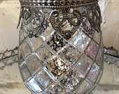 Antique Style Mercury Glass Tea Light Candle Holder Silver Hearts Band Wedding Table Venue Decoration