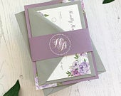 Purple Wedding Invitation Lilac Floral Wedding Invites / Wedding Invitations Set / Wedding Stationery with RSVP and Belly band