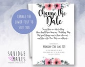 Personalised Change the Date Wedding Postponed Cards set of 10 Save the new date invitations Floral flower design