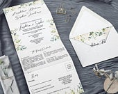 Wedding invitations Wedding Invitations Concertina TriFold Style Fully Personalized Printed, floral Wedding Invites White Rose Aria