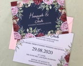 Navy Floral Rose Floral Wedding Day or Evening Invites Invitations Printed