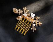 Small Hair Accessories, Wedding Hair Comb, Wedding Headpiece with gold crystals, Simple Bridal Hair Comb, Floral Hair Comb, Boho Wedding
