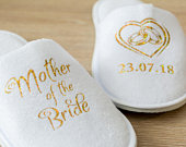 Mother of the Bride Personalised Wedding Slippers Bride, Bridesmaid Gift, Bridal Party , Hen Weekend closed toe Spa Slippers