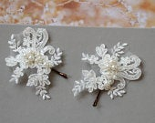 Ivory Lace hair pins, Bridal hair pins, Wedding hair accessory, Bridesmaid Hair pins, Wedding hair piece ,Floral Hair pin, Lace Headpiece,
