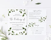 Ivy Wedding Invitation Template, Printable Invite Suite including rsvp details card, Editable Text, INSTANT DOWNLOAD, 011