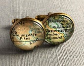 Personalised Map Cufflinks for Bronze Anniversary or Best Man Unique Gift