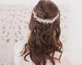 Silver floral crystal vine wedding hair comb, Flower wedding hair comb, Silver wedding hair comb, Floral wedding comb