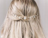 Small pearl flower wedding hair vine, mother of pearl flower bridal hair vine, gold silver or rose gold hair vine Phoebe