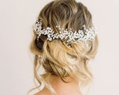 LAYLA // Silver pearl wedding hair vine, bridal hair vine, wedding hair accessories, hair accessory, hair vine, boho wedding hair vine
