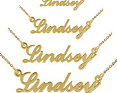 Name Necklace ANY NAME Carrie Necklace Style 9ct Gold Plated Name Plate Personalised Necklace Gift for Bridesmaid Flower Girl Women Her