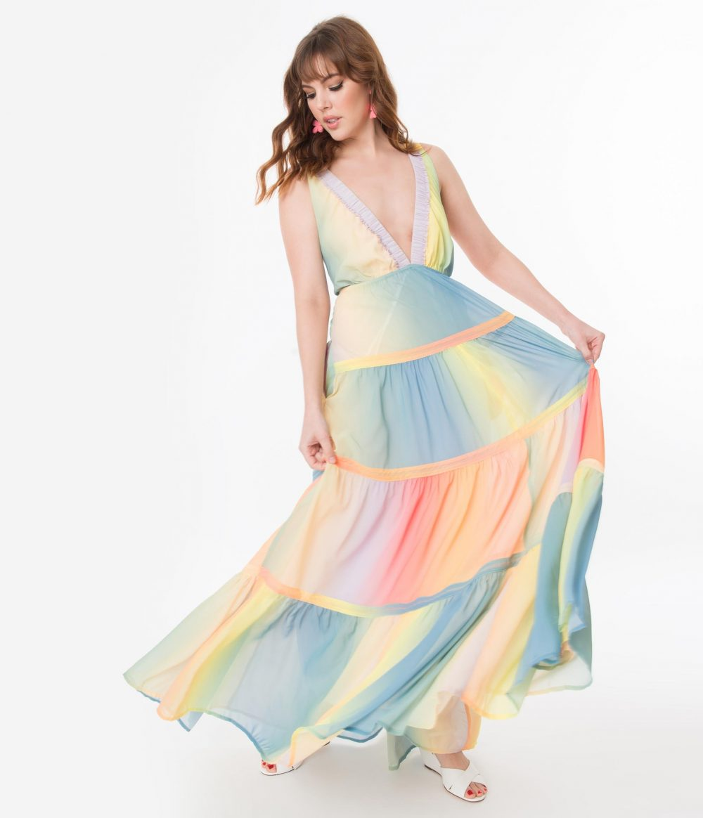 Pastel Ombre Rainbow Tiered Maxi Dress