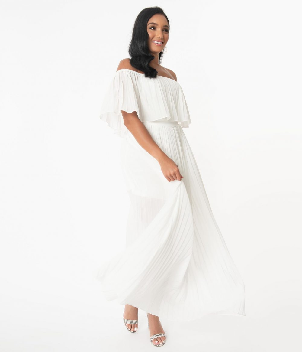 Ivory Off Shoulder Pleated Maxi Dress