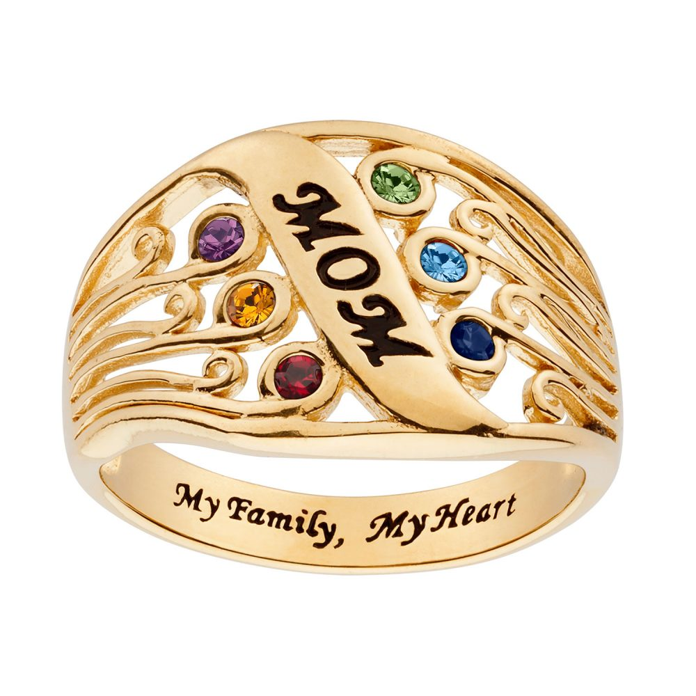 Gold over Sterling Silver MOM Family Birthstone Ring